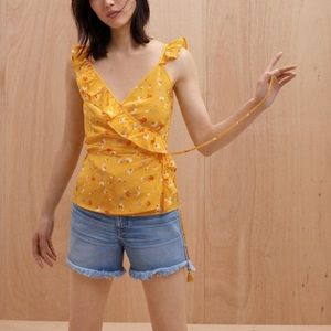 Madewell •Silk Wrap Cami Top in Painted Carnations